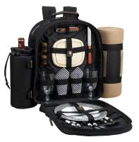 Deluxe Equipped 2 Person Picnic Backpack w/Blanket - Black