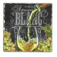 Counter Art Chalkboard Wine-Blanc Single Tumbled Tile Coaster