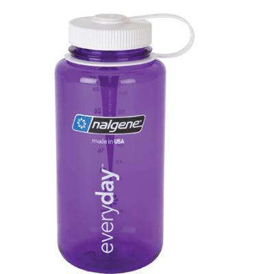 Nalgene Tritan Wide Mouth Water Bottle, 1 Qt Purple with White Lid