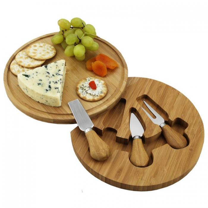 Picnic at Ascot Feta Bamboo Cheese Board Set with 3 Tools