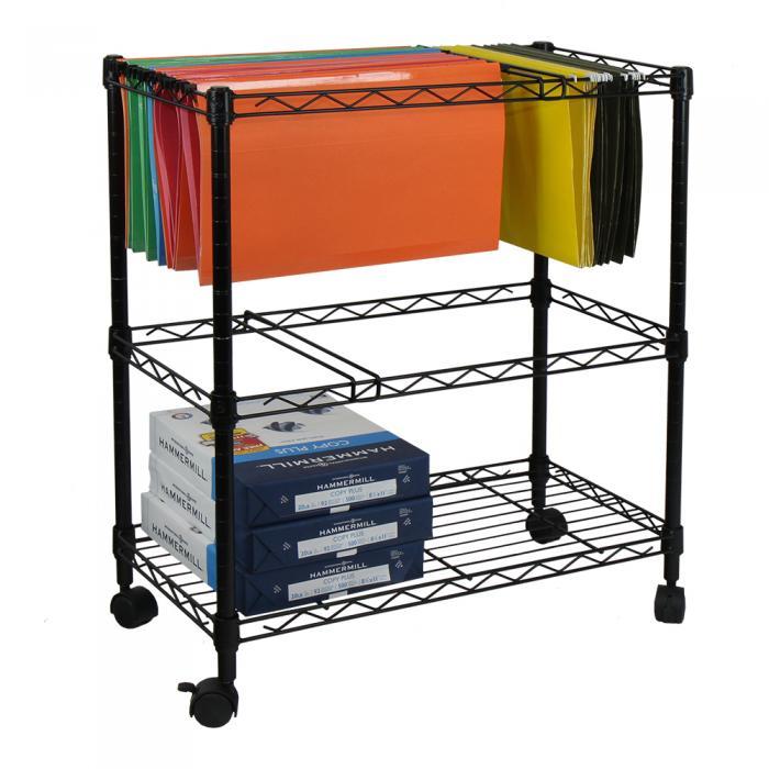 Oceanstar Portable 2-Tier Metal Rolling File Cart, Black