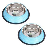 2 2 Pack Color Splash Stripe Non-Skid Pet Bowl for Dog or Cat - Blue - 8 oz - 1 cup