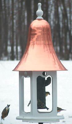 Birds Choice Recycled White Gazebell Bird Feeder with Spun Buffed Copper Top