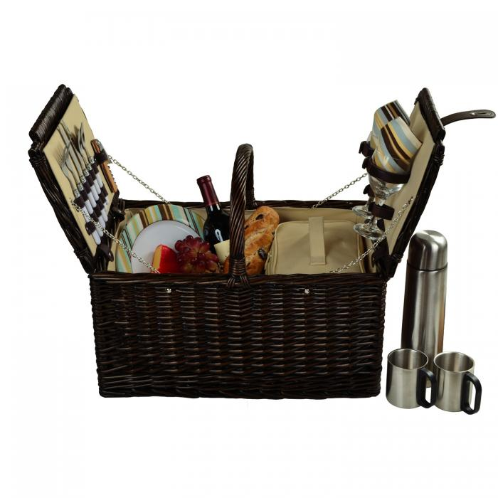 Picnic at Ascot Surrey Willow Picnic Basket with Service for 2 with Coffee Set - Santa Cruz