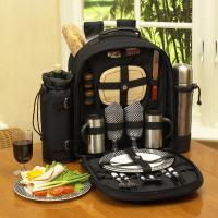 Picnic at Ascot Deluxe Equipped 2 Person Picnic Backpack with Coffee Service, Cooler & Insulated Wine Holder - Black