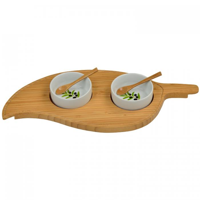 Picnic at Ascot Bamboo Leaf Serving Platter with 2 Ceramic Bowls