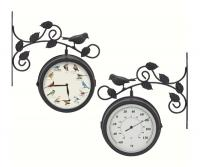 Mark Feldstein Decorative Outdoor Bird Clock/Thermometer