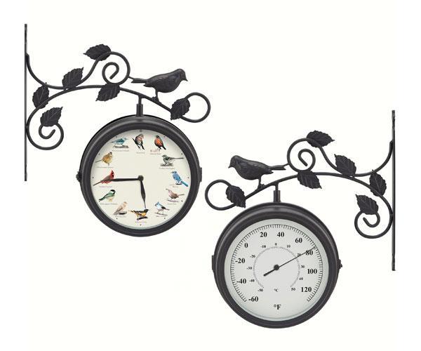 Mark Feldstein Decorative Outdoor Bird Clock/Thermometer