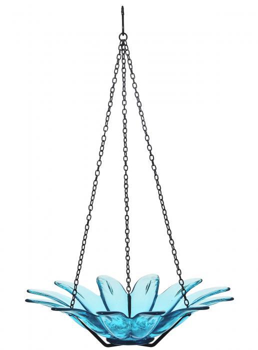 Couronne Company 12 inch Daisy Birdbath Aqua