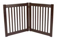Small 2 Panel Free Standing EZ Pet Gate - Mahogany