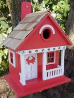 Home Bazaar Crab Cottage Birdhouse, Red