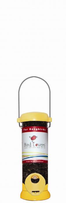 "Droll Yankees Bird Lovers 8"" Yellow Songbird Tube Bird Feeder"