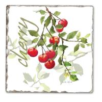 Counter Art Julie's Cherries Single Tumbled Tile Coaster