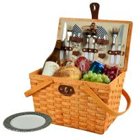 Picnic at Ascot Frisco Traditional American Style Picnic Basket with Service for 2 - Black Gingham