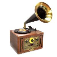 Vintage Classic Style Turntable Horn Phonograph with Bluetooth, AM/FM Radio, CD Player & USB Reader (PVNP30BT)