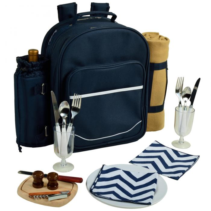 Picnic At Ascot Deluxe Equipped 2 Person Picnic Backpack w/Blanket  -Navy/Chevron