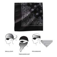 Bandannas Bandanna, 3-IN-1, 100% Cotton, Paisley, Black, Velcro