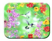 Tuftop Tempered Glass Kitchen Board, Artist Collection - Hummingbirds Medium