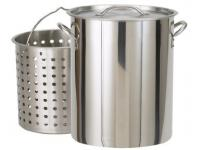 Bayou Classic 82 Quart Stainless Stockpot with Lid and Basket