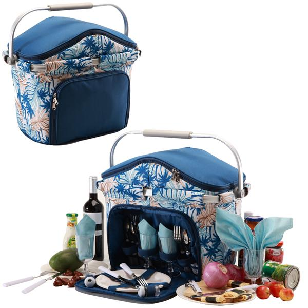 Picnic & Beyond Foldaway Aluminum Framed Picnic Cooler Basket for 4 Persons