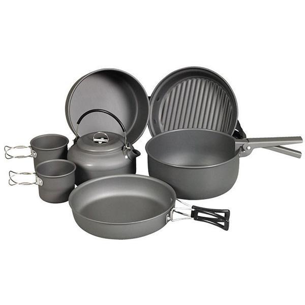NDuR Cookware Mess Kit w/Kettle, Anodized Aluminum