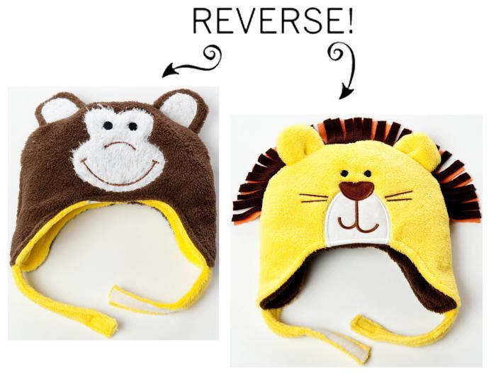 Luvali Convertibles Lion/Monkey Reversible Kid's Winter Hat, Small