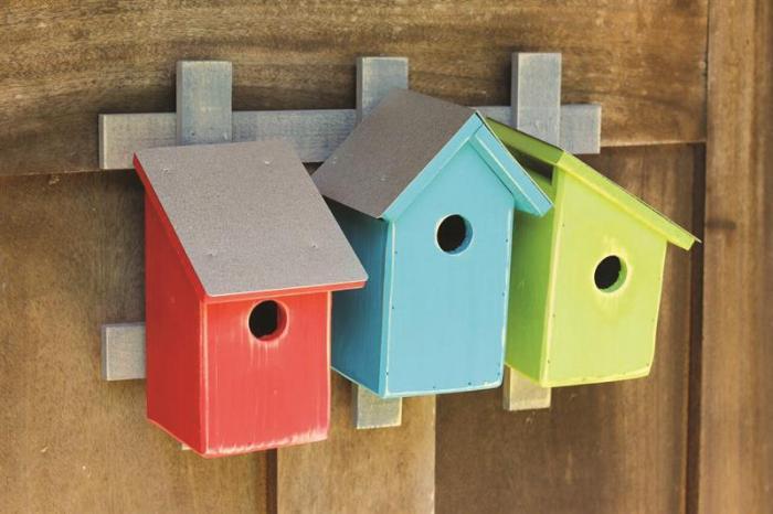Heartwood Trellis Trio- Neon Trio Bird Houses
