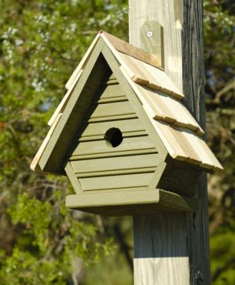 Heartwood Chick Birdhouse, Pinion Green