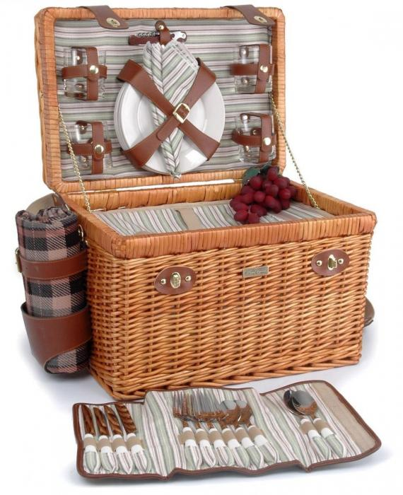 Picnic & Beyond Enchanted Evening Collection 4-Person Willow Picnic Basket