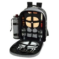 Picnic at Ascot Deluxe Equipped 2 Person Picnic Backpack- Houndstooth