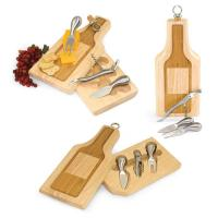 Picnic Time Silhouette Wine Bottle-Shaped Cheese Board with Cheese Tools and Wine Accessories