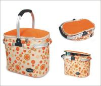 Picnic & Beyond Orange Empty Aluminum Framed Picnic Cooler Basket