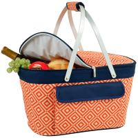 Picnic at Ascot Stylish Insulated Market Basket / Picnic Tote with Sewn in Aluminum Frame - Orange/Navy