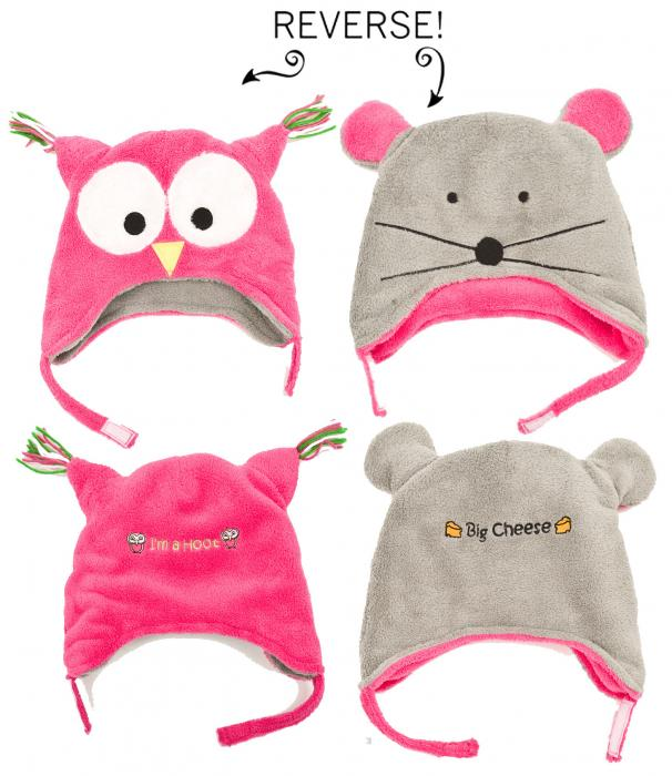 Luvali Convertibles Owl/Mouse Reversible Kid's Winter Hat, Small