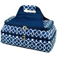 Picnic at Ascot Two Layer Hot/Cold Thermal Food and Casserole Carrier -Trellis Blue