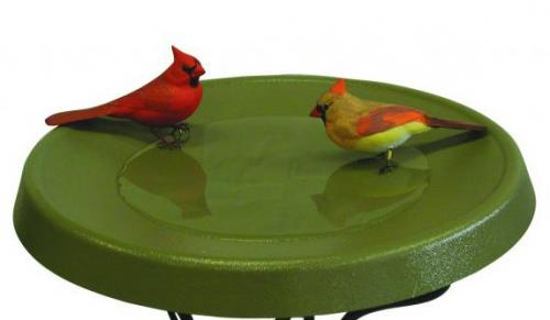 Birds Choice Olive Green Deck-Mount Heated Bird Bath