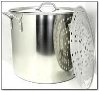 80 Quart Stainless Steel Stock Pot with Rack and Lid