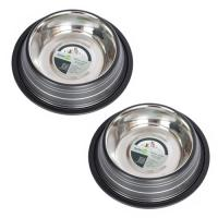 2 Pack Color Splash Stripe Non-Skid Pet Bowl for Dog or Cat - Black - 64 oz - 8 cup