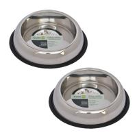 2 Pack Heavy Weight Non-Skid Easy Feed High Back Pet Bowl for Dog or Cat - 32 oz - 4 cup