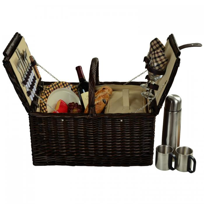 Picnic at Ascot Surrey Willow Picnic Basket with Service for 2 with Coffee Set - London Plaid
