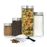 Anchor Hocking 4 Pc Glass Cannister Set with Scoop
