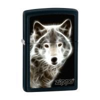 Zippo WHITE WOLF,  Black Matte