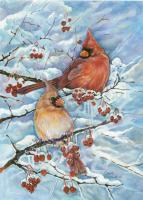 Toland Cardinals & Berries Garden Flag