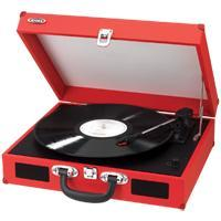 Jensen Jta410R Red Portable 3 Speed Stereo Turntable