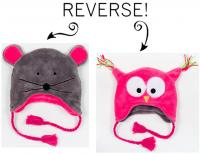 Luvali Convertibles Owl/Mouse Reversible Kid's Winter Hat Large