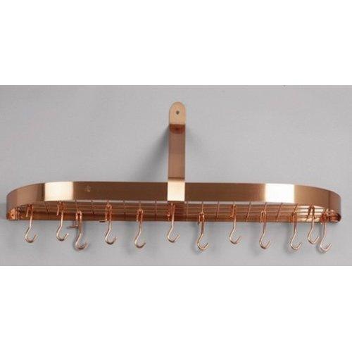 "Old Dutch 36"" x 9"" x 11.25"" Satin Copper Wall Pot Rack with 12 Hooks"