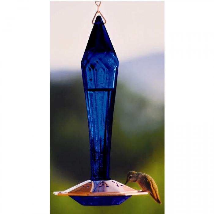Schrodt Faceted Cobalt Hummingbird Bird Feeder