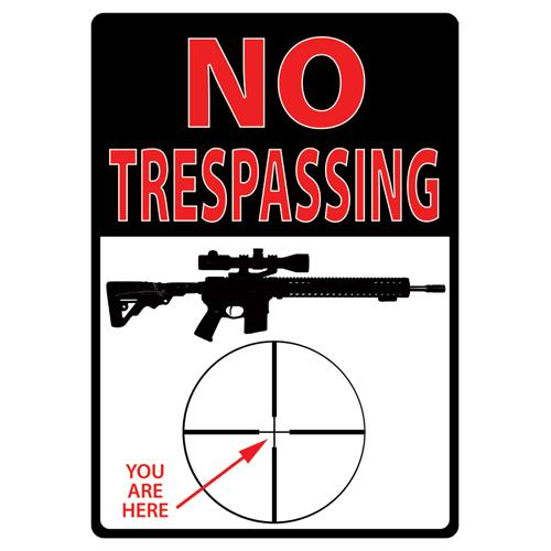 Rivers Edge Products New Trespassing You're Here Tin Sign 16""