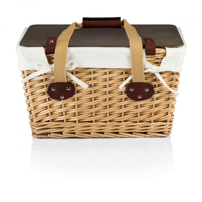 Picnic Time Canasta Grande-Natural Flat Lid Basket, Willow