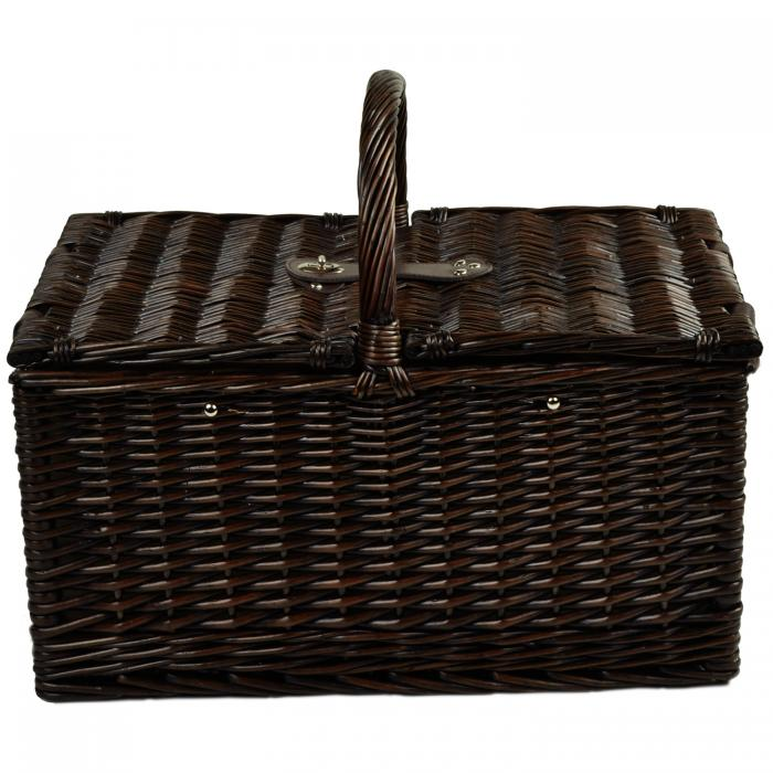 Picnic at Ascot Surrey Willow Picnic Basket with Service for 2 with Coffee Set - Blue Stripe